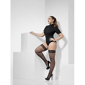 Fishnet Hold-Ups, Black, Lace Tops with Silicone, Extra Large