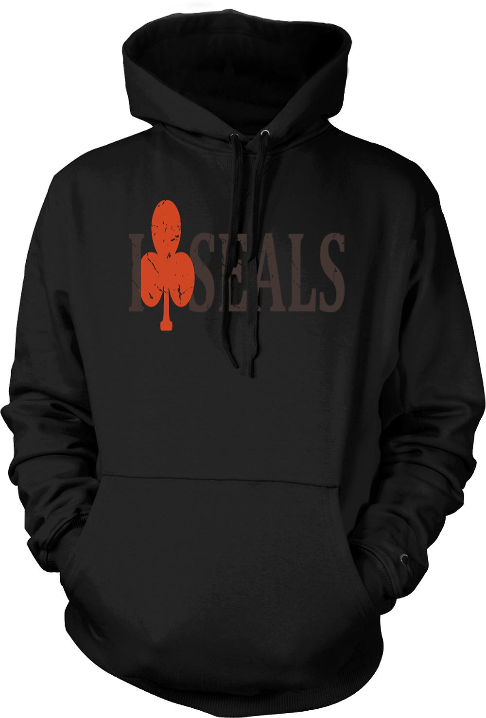 Mens Hoodie - I Club Seals - Funny Crude