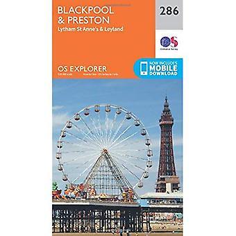 Preston e OS Explorer mapa (286) Blackpool