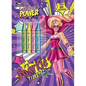 It's Sparkle Time! (Barbie in Princess Power) (Color Plus Crayons and Sticker)
