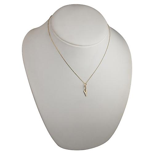 9ct Gold 23x6mm solid Builders Trowel Pendant with a curb chain