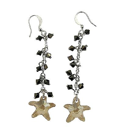 Golden Shadow Star Swarovski Crystal w/ AB Dorado Crystal Earrings