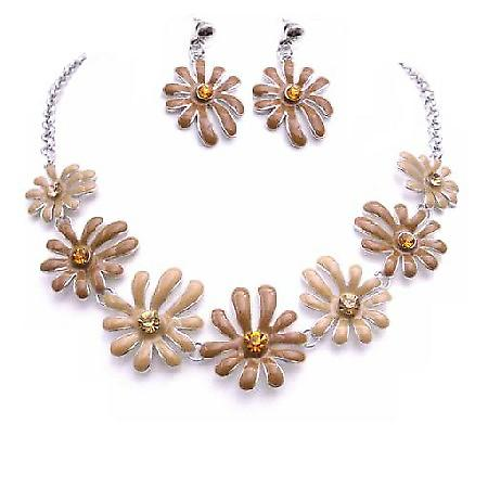 Unique Classic Stylish Jewelry In Latte Mocha Color Flower Jewelry