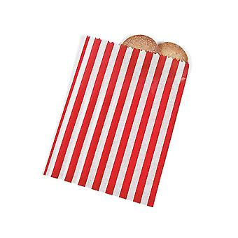 12 Red and White Candy Cane Stripe Paper Christmas Party Bags