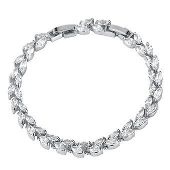 U7 Bladformad pulsera con diamantes de imitación, plata y blanco