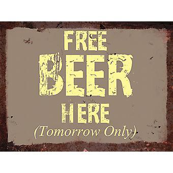 Vintage metall vägg tecken - gratis öl här