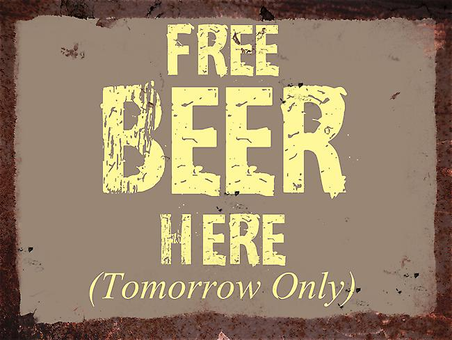 Vintage Metal Wall Sign - Free Beer Here