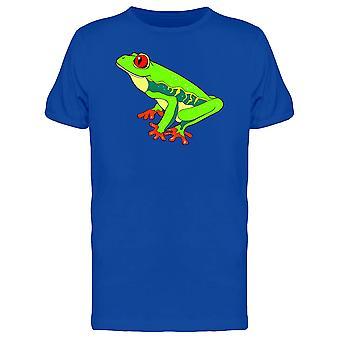 Green Red-Eyed Tree Frog Cartoon Tee Men's -Image by Shutterstock