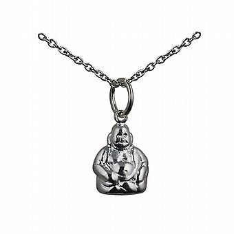 Silver 11x9mm Buddha Pendant with a rolo Chain 14 inches Only Suitable for Children