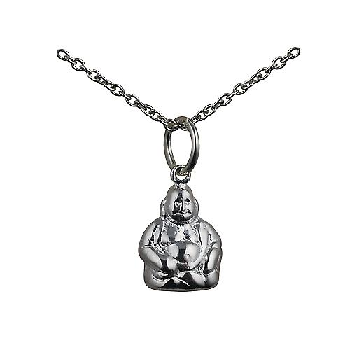 Silver 11x9mm Buddha Pendant with a rolo Chain 16 inches Only Suitable for Children