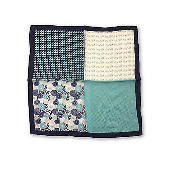 Olymp Pocket Square in teal multiple pattern