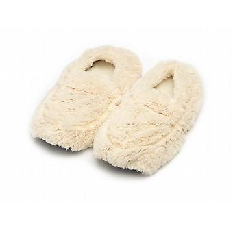 Ladies Cozy Body Microwavable Furry Slippers: Cream