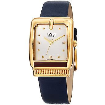 Burgi Women's BUR192 Quartz Diamond Marker Rectangle Case Leather Strap Watch BUR192BU