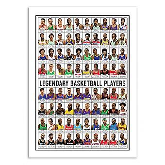 Art-Poster 50 x 70 cm - Legendary Basketball Players - Olivier Bourdereau