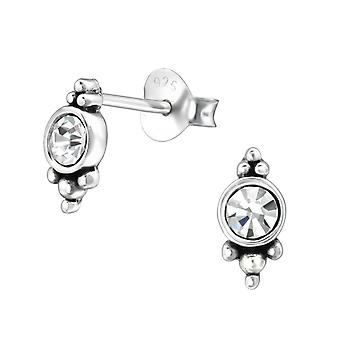 Ornate Round - Crystal + 925 Sterling Silver Crystal Ear Studs - W31071X