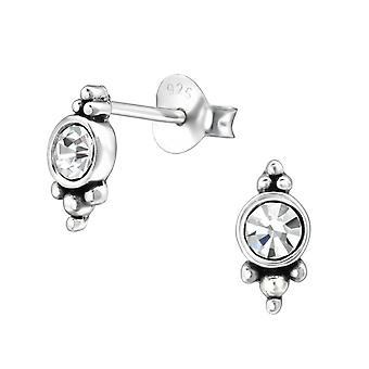 Udsmykkede runde - krystal + 925 Sterling sølv Crystal øret knopper - W31071X