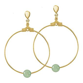 Eternal Collection stilistica verde agata oro tono hoop clip su orecchini