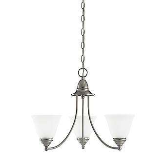 Sea Gull Lighting 31575-962 3-Light Chandelier Etched Glass Brushed Nickel