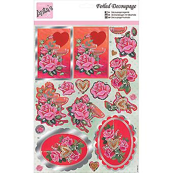 Anita's A4 Foiled Decoupage Sheet-Champagne & Roses A169600