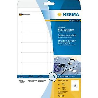 HERMA Name/textile labels A4 88.9x33.8 mm white removable artificial silk 400 pcs. Herma 4420