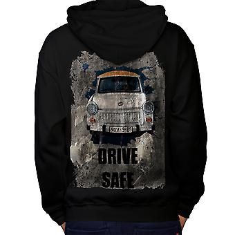 Drive Safe Vintage Car Men Black Hoodie Back | Wellcoda