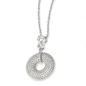 Sterling Silver and Cubic Zirconia Round Polished Fancy Necklace - 18 Inch