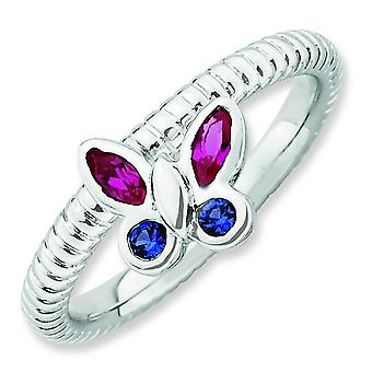 2.5mm Sterling Silver Bezel Polished Rhodium-plated Stackable Expressions Created Ruby and Cr. Sapphire Butterfly Rin -