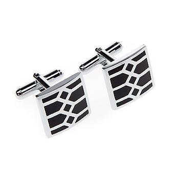 Frédéric Thomass mens cuff links square black silver Kharkov stainless steel