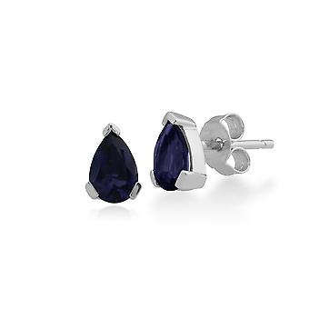 Gemondo 9ct White Gold 0.64ct Iolite 3 Claw Set Pear Stud Earrings 6.5x4mm