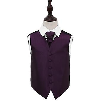 Boy's Cadbury Purple Greek Key Patterned Wedding Waistcoat & Cravat Set