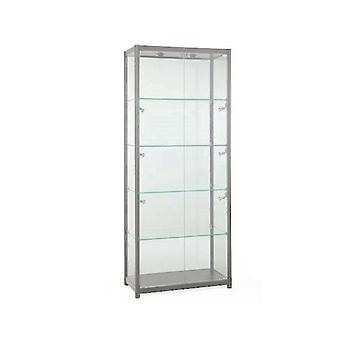 Silver Glass Display Cabinet with 8 Lights - 800mm