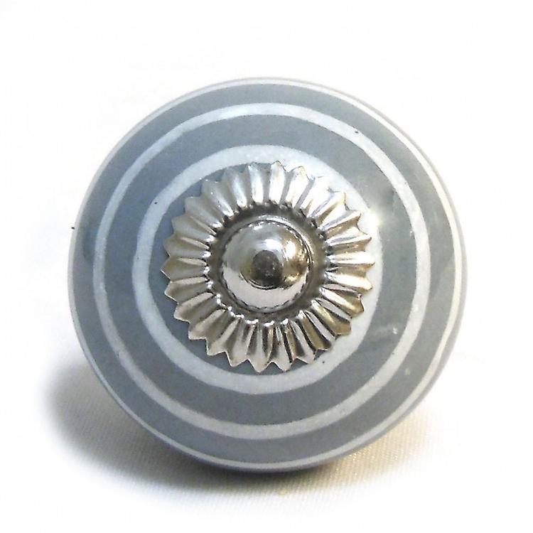 Grey / White Stripes Ceramic Cupboard Knob