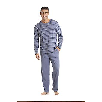Mens Haigman Crew Neck Striped Long Pyjama nightwear pajama loungewear 3072
