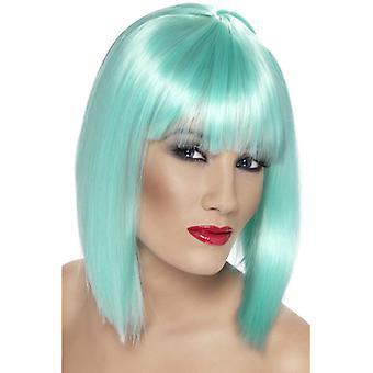 Glam wig, neon aquamarine