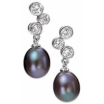 925 Silber Perle und Zirkon Ohrringe