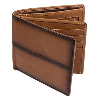 Dents Casual Leather Stiched Bifold and Coin Wallet - Tan