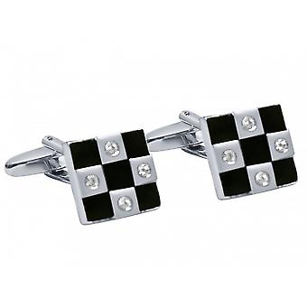 Men's cuff links stainless steel wedding checkerboard fire enamel black-silver
