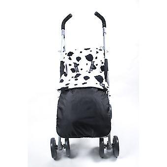 Genesis Universal Showerproof Cow Print & Black Footmuff Fleece Lined Windproof  Cosytoes Buggy Liner