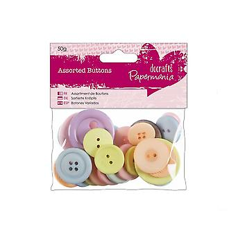 50g Pastel Coloured Buttons for Crafts | Sewing Scrapbooking Card Making