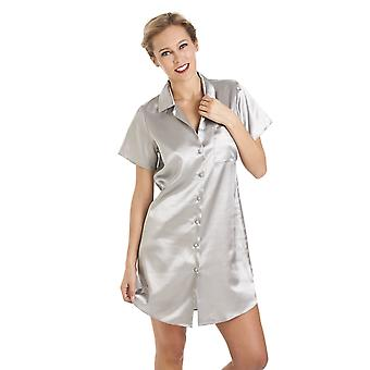 Camille Luxurious Knee Length Grey Satin Nightshirt