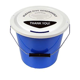 3 Charity Money Collection Buckets 5 Litres - Light Blue
