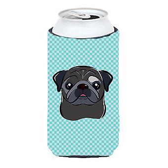 Checkerboard Blue Black Pug Tall Boy Beverage Insulator Hugger