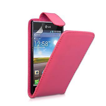 Yousave accesorios LG Optimus L7 efecto cuero Flip Case - rosa