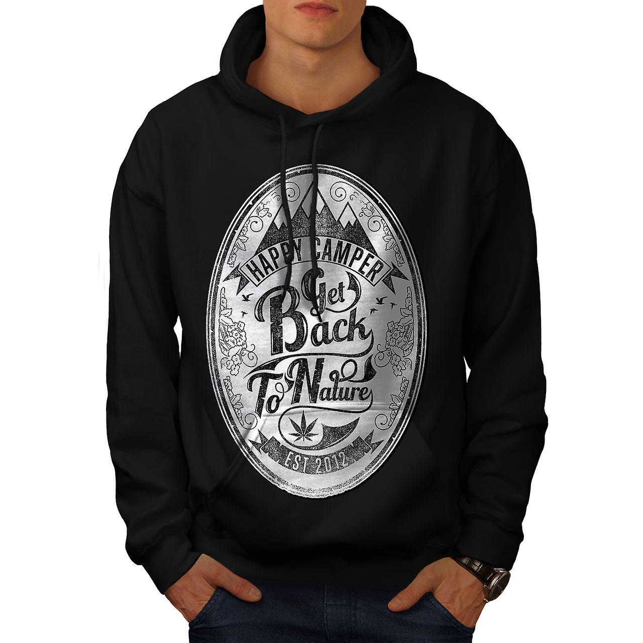 Get Back To Nature Slogan Men Black Hoodie | Wellcoda