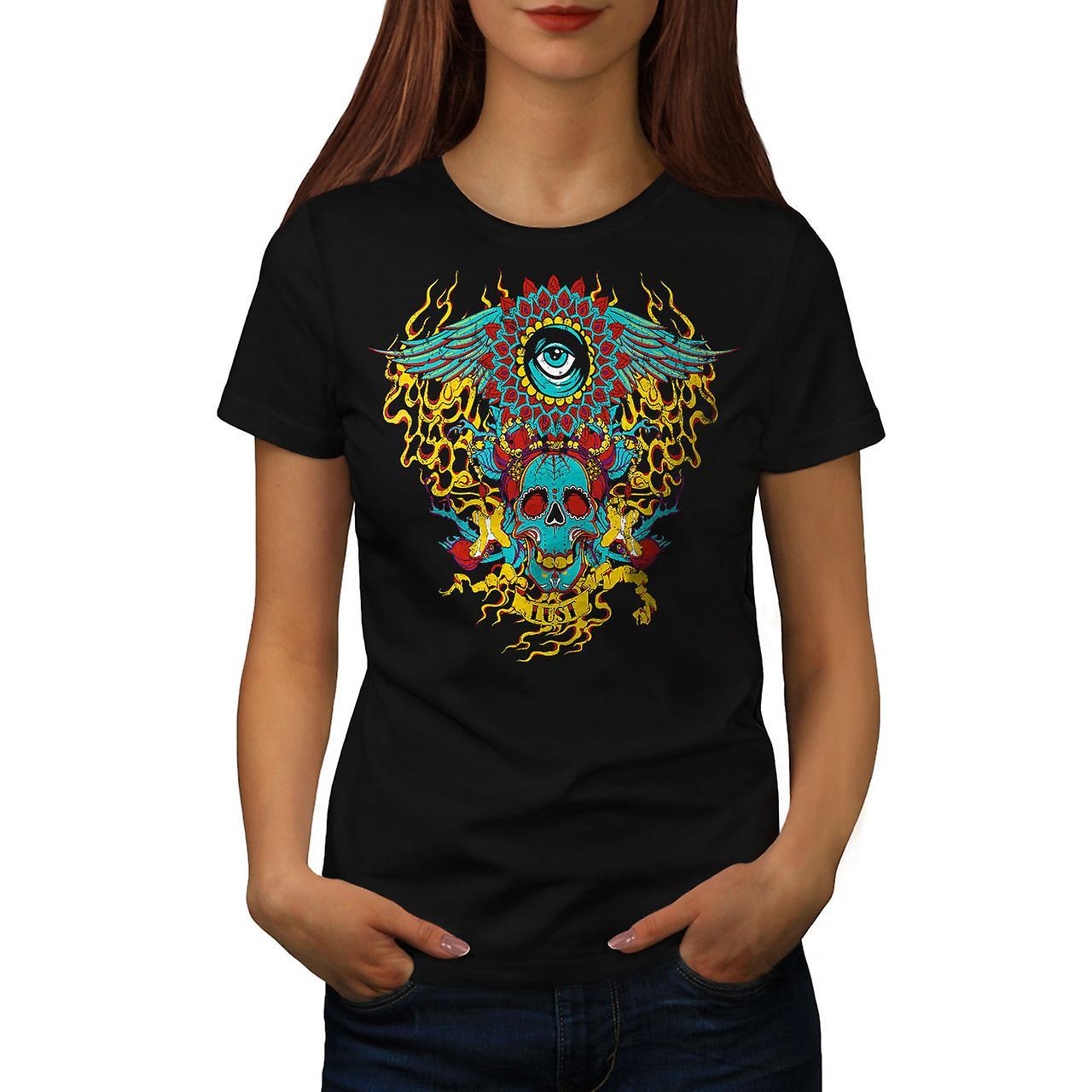 Heart Flame Eye Skull Women Black T-shirt   Wellcoda