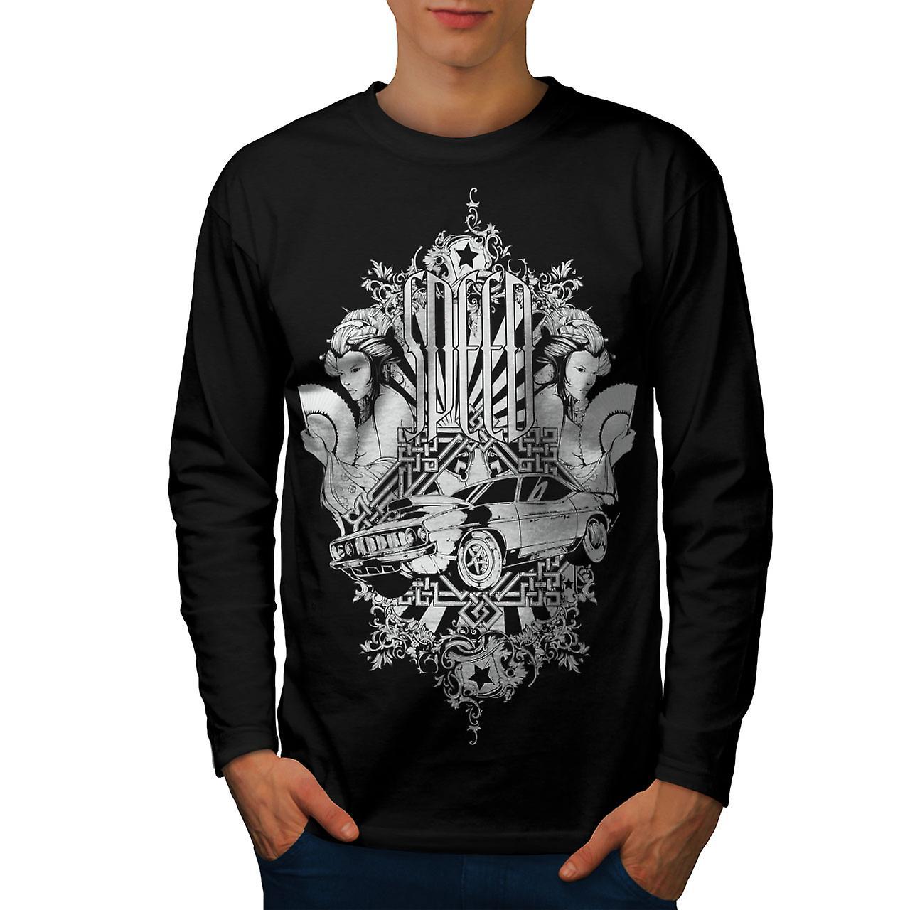 Speed Vintage Girl Car Men BlackLong Sleeve T-shirt | Wellcoda