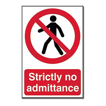 ASEC Self Adhesive `Strictly No Admittance` Sign 200mm X 300mm