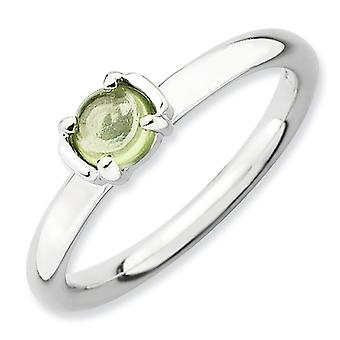 2.5mm Sterling Silver Prong set Rhodium-plated Stackable Expressions Polished Peridot Ring - Ring Size: 5 to 10