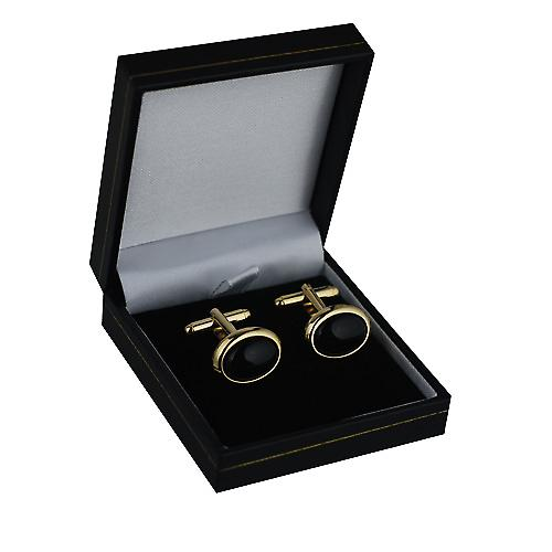 Hard Gold plated 14x19mm oval Onyx set swivel Cufflinks