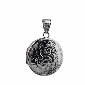 Silver 23mm engraved flat round Locket